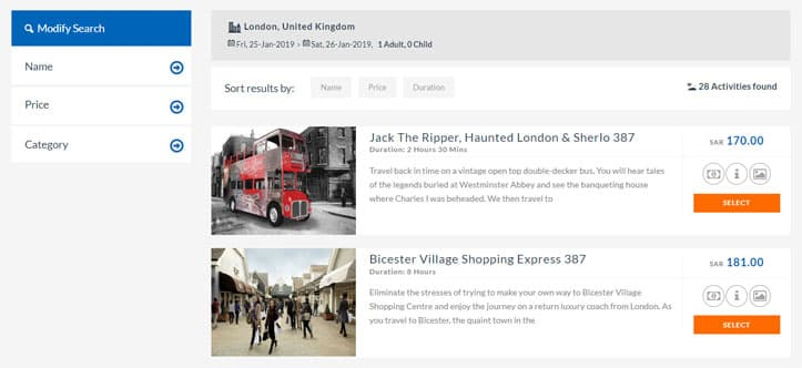 Interface of Sightseeing in Travel Cloud Suite